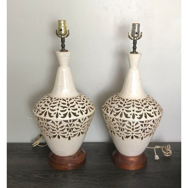 Ceramic Vintage Mid Century Ceramic and Wood Gilt Cutout Lamps - a Pair For Sale - Image 7 of 7
