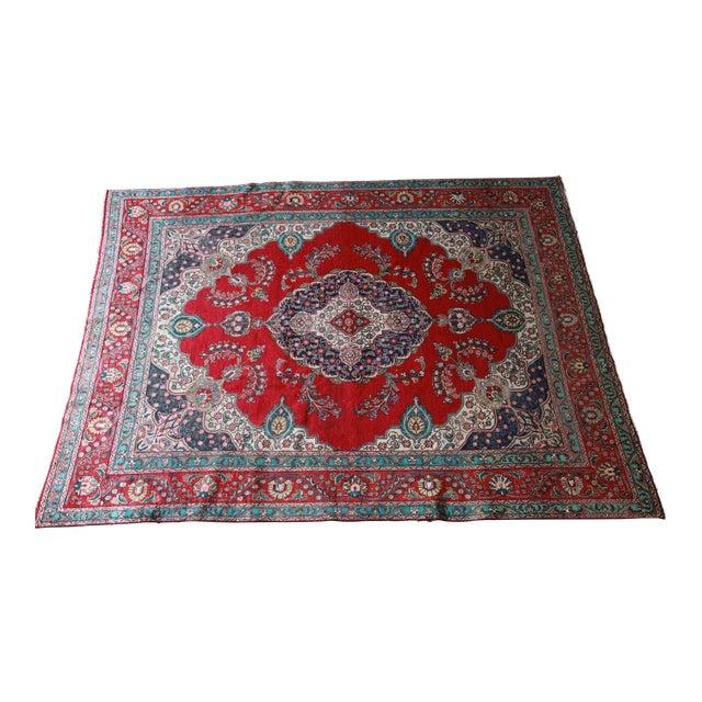 Vintage Hand-Woven Persian Tabriz Rug - 9′10″ × 12′5″ - Image 1 of 8