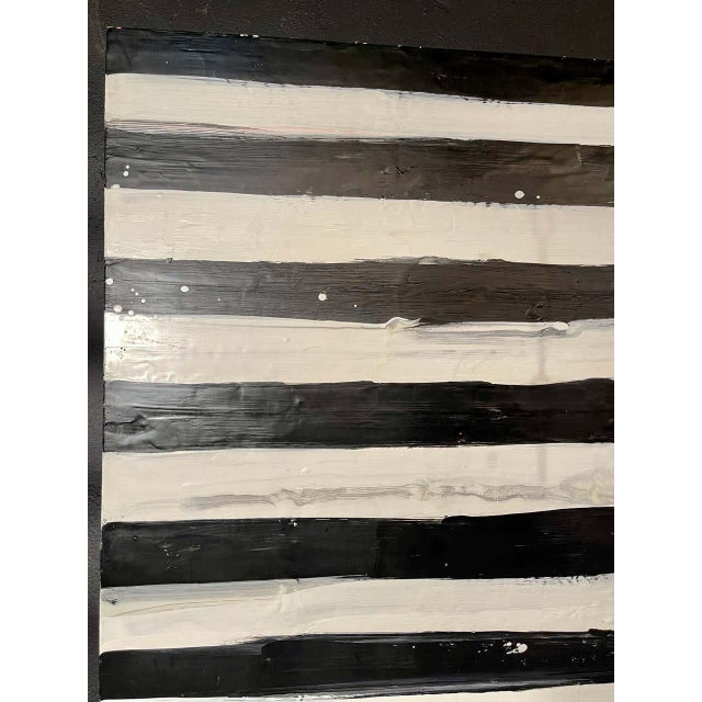 "Lynn Basa Encaustic Black and White Stripe Panel ""Not So Simple"" 2012 For Sale In New York - Image 6 of 12"