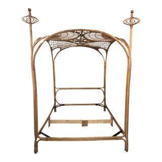 Vintage Tropical Boho Palm Beach Rattan Queen Size Canopy Bed For Sale