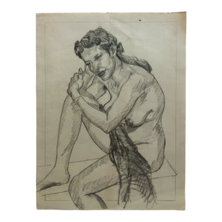 """1960s Vintage """"Bare Breast - in Thought"""" Tom Sturges Jr. Drawing For Sale"""