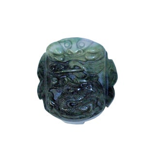 Natural Jade Stone Chinese Ancient Rectangular Belt Buckle Decor Feng Shui Dragon Carving For Sale