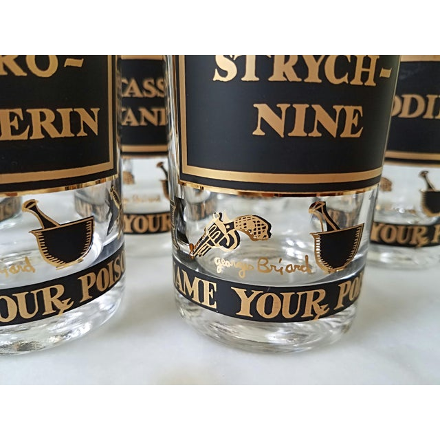 """Georges Briard """"Name Your Poison Glasses"""" Skull and Crossbones Glasses - Set of 8 For Sale In Chicago - Image 6 of 13"""