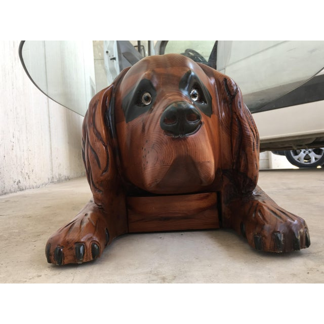 20th Century Country Carved Table Featured a Lifesize Dog With Cristal Top For Sale In Miami - Image 6 of 12