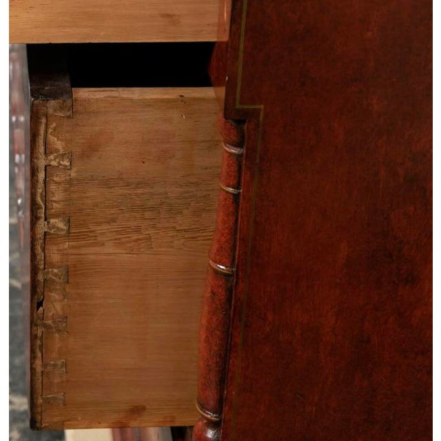 Red 19th Century Biedermeier Continental Faux Bois Painted Pine Cylinder Secretary Bookcase For Sale - Image 8 of 12