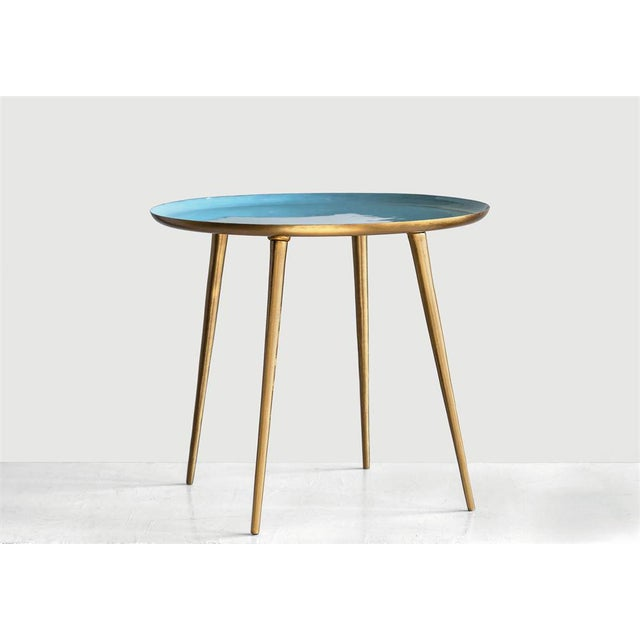 """Classic style round blue enameled metal table with brass finish. Diameter: 20"""" Height: 20"""""""