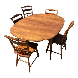 Original L. Hitchcock Cloverleaf Harvest Extension Dining Set