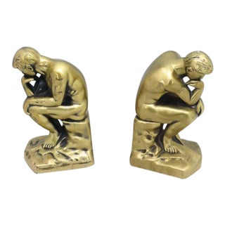 "A. C. Rehberger Chicago Gold Over Metal Bookends ""The Thinker"" - a Pair For Sale"
