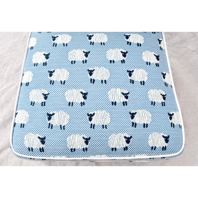 """Scalamandre, """" Ewe Too in Blue"""" Petite Antique Slipper Chairs For Sale - Image 12 of 13"""