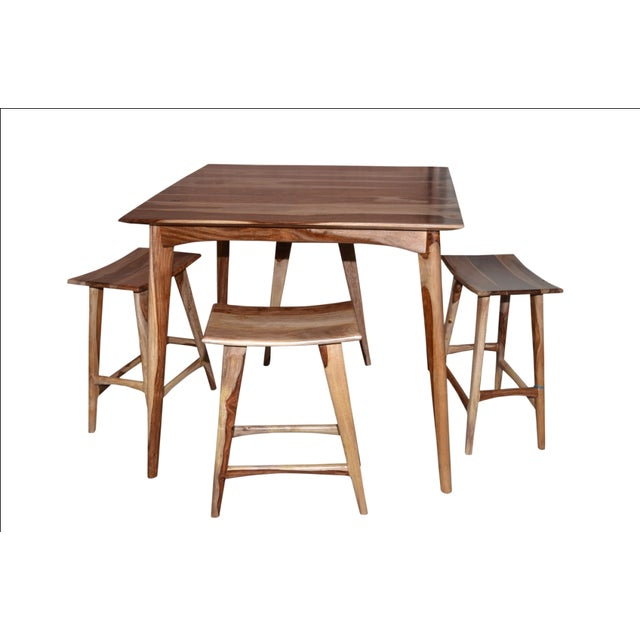 Wooden Bar Table & Stools - Set of 5 - Image 5 of 5