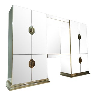 Mid-Century Modern Mirrored Armoire For Sale