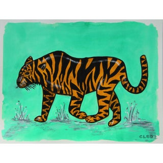 Chinoiserie Wild Tiger Painting by Cleo Plowden For Sale