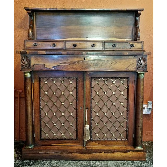 Georgian 18c British Regency Bureau Secretaire Chiffonier in the Manner of Gillows For Sale - Image 3 of 13