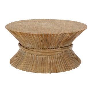 Mid-Century Modern McGuire Round Wheat Bamboo Sheaf Base Coffee Table For Sale