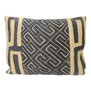 Vintage Yellow and Black African Artisanal Embroidered Decorative Bolster Pillow For Sale