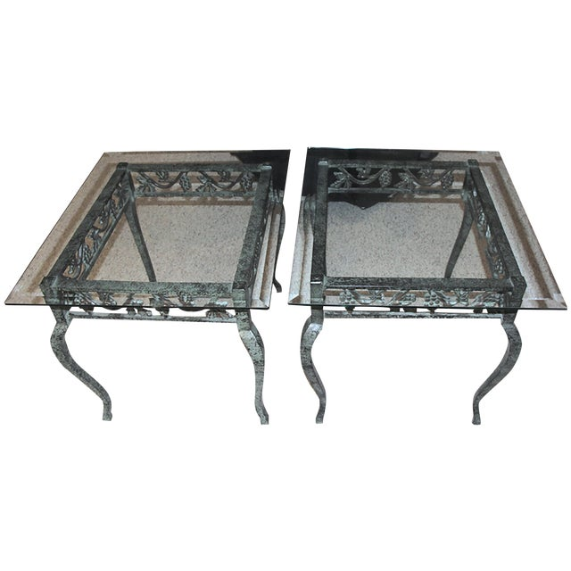 Iron and Glass Side Tables - A Pair - Image 1 of 4