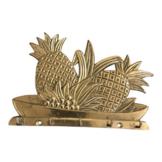 1990s Vintage Brass Pineapple Key Hook For Sale