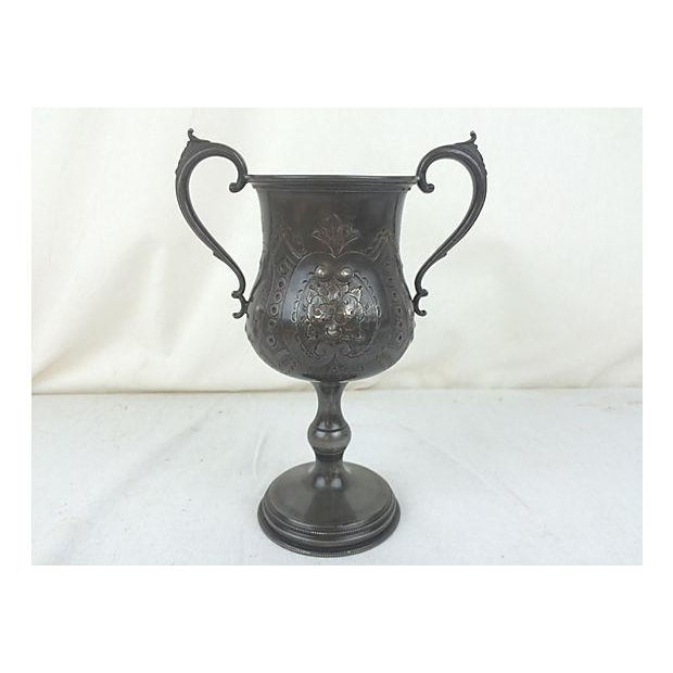English Etched Pewter Loving Cup - Image 2 of 3
