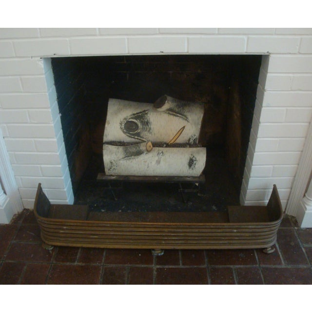 Early Arts & Crafts Brass Fireplace Fender Rail For Sale - Image 4 of 9