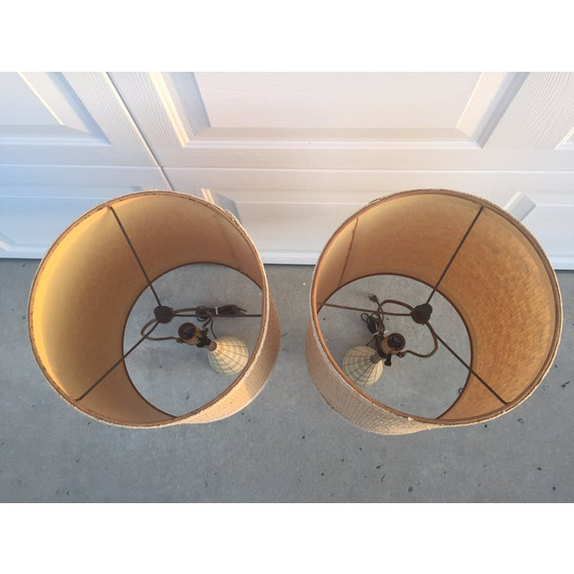 Mid-Century Ceramic & Walnut Lamps - Pair For Sale - Image 9 of 10