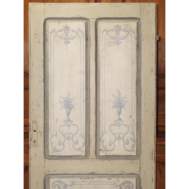 Blue and White Painted Antique Door From Lombardy, Italy Circa 1850 For Sale - Image 4 of 13