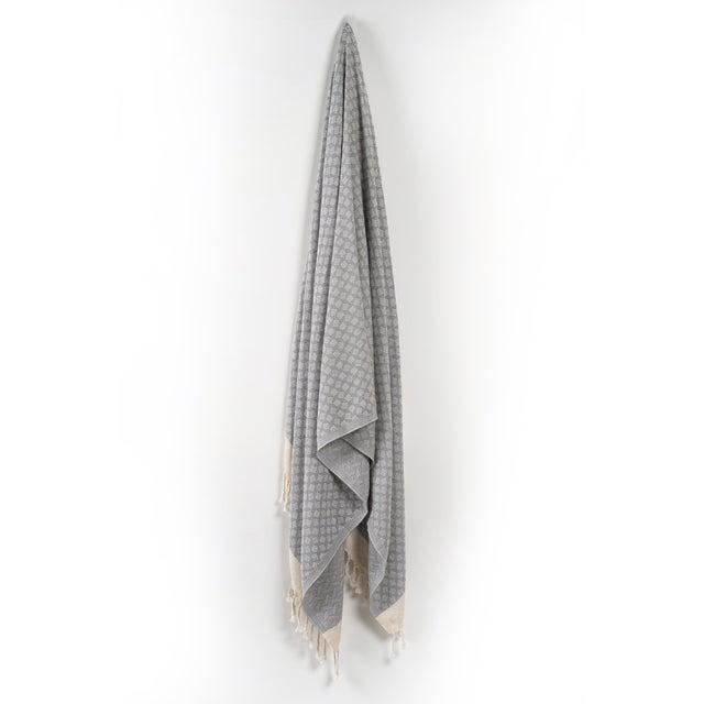 Modern Love Handmace Organic Cotton Towel in Slate Grey For Sale - Image 6 of 6