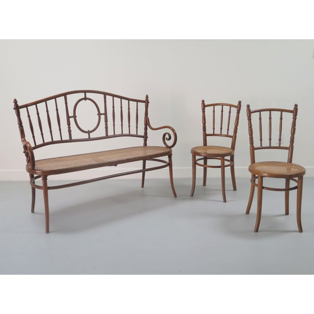 Early 20th Century Thonet Style Bentwood and Caned Settee For Sale - Image 12 of 13