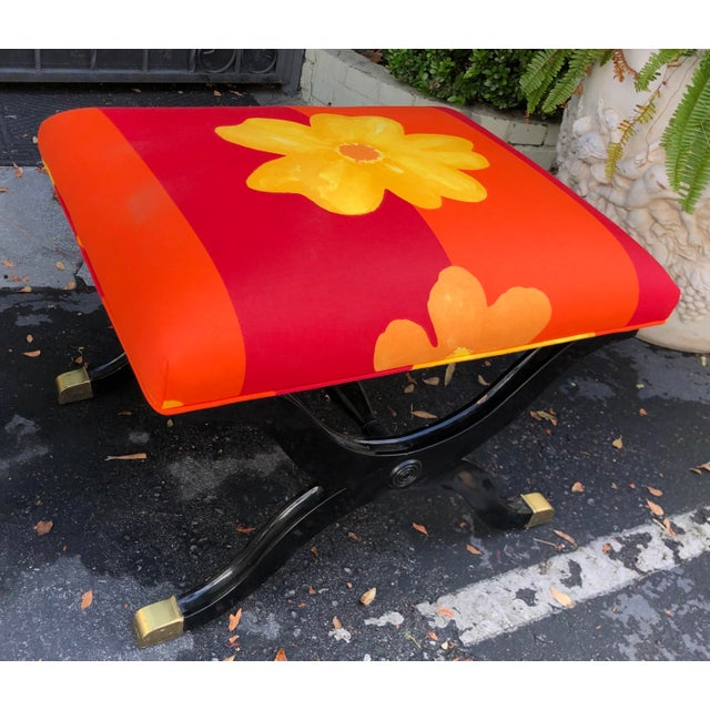 Vintage French Art Deco X Bench Upholstered with later Marimekko fabric. Last one!
