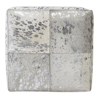 Forest Collection Cowhide Silver Ottoman For Sale