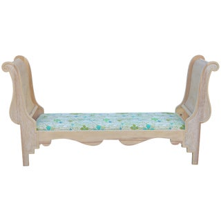 Vintage Carved Wood Sleigh Bench For Sale