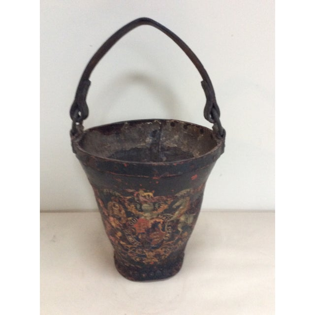 Antique Leather Coat of Arms Fire Bucket - Image 9 of 9