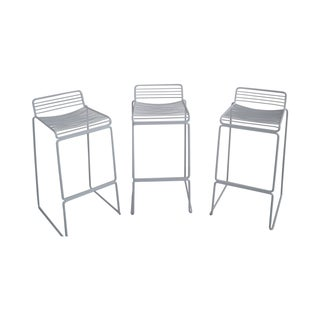 Mid Century White Wire Frame Bar Stools - Set of 3 For Sale
