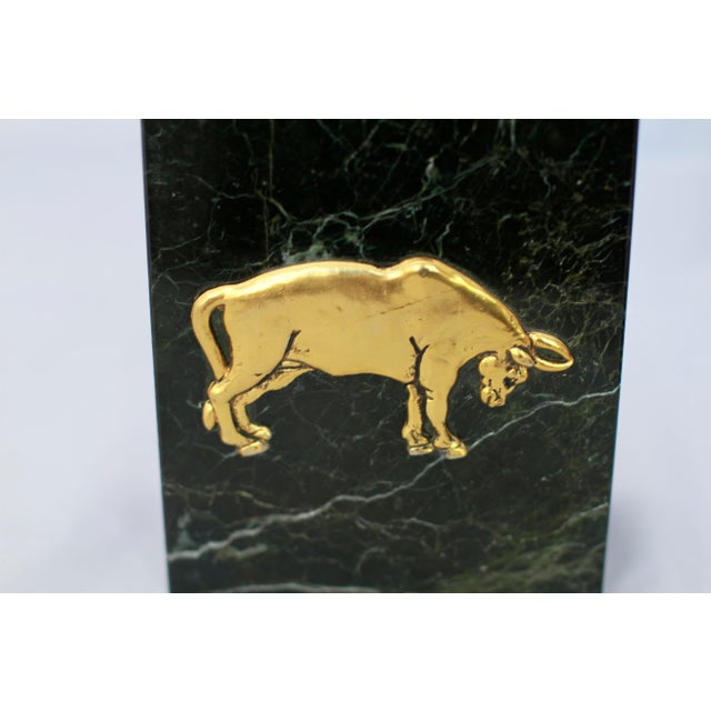 Black Marble Vintage Bull And Bear Stock Market Symbols Bookends A