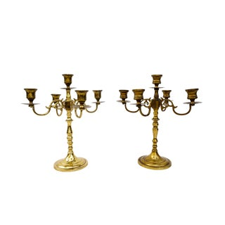 Pair of Large Vintage Brass 5-Arm Candelabras || Brass Candlesticks by Baldwin Brass || Ornate Taper Candle Holders For Sale