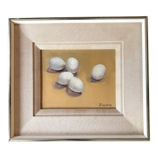 Vintage Original Still Life Painting With Eggs 1970's Signed For Sale