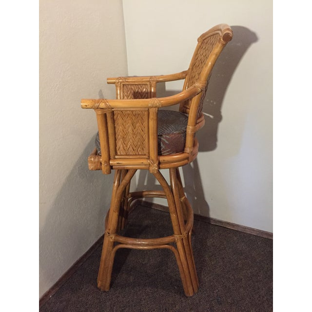 1980s Vintage Whitecraft Rattan Swivel Barstool For Sale - Image 5 of 9