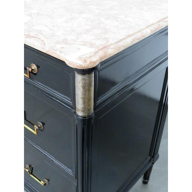 Gold Directoire Style Marble Top Ebonized Commode For Sale - Image 8 of 12