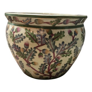 Vintage Asian Porcelain Flower Pot For Sale