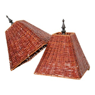 1970s Boho Chic Dark Brown Wicker Lamp Shades - a Pair For Sale