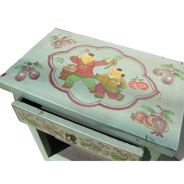Oriental Pastel Blue Side Table/Nightstand - Image 4 of 5