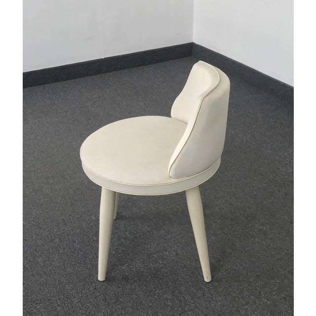 Danish Modern Vintage Mid Century Modern Tapered Legs Vanity Chair For Sale - Image 3 of 13