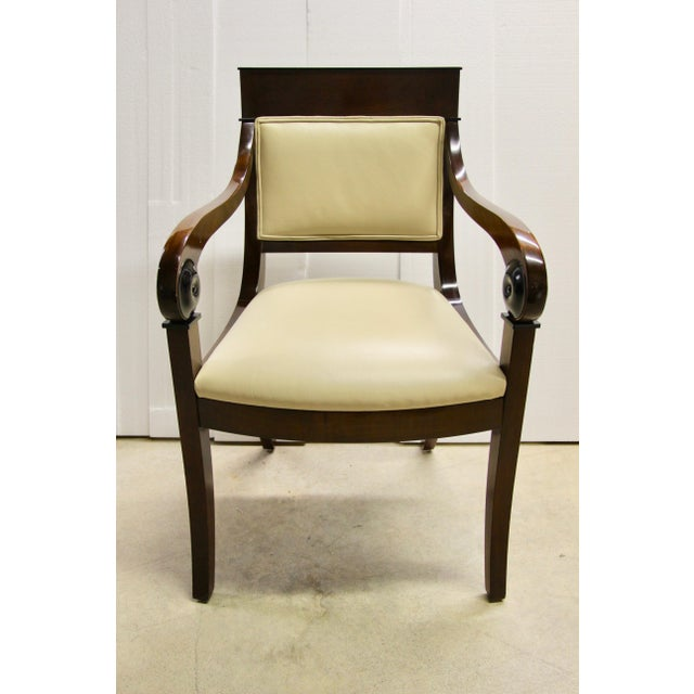 Regency-Style Scroll Arm Chair For Sale - Image 9 of 9