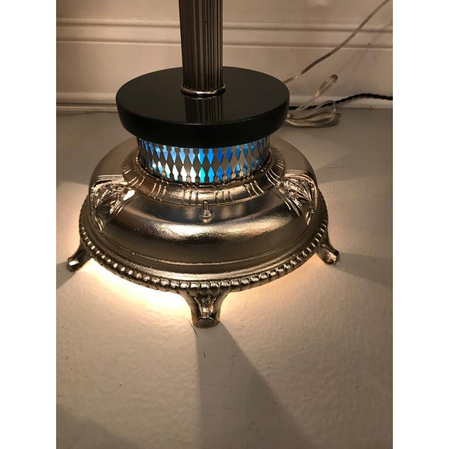 Metal Art Deco Standing Ashtray with Illuminating Light For Sale - Image 7 of 11