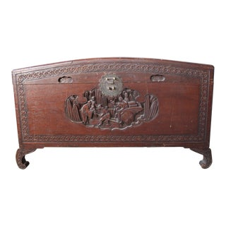 Antique Hand Carved Wood Asian Trunk Chest