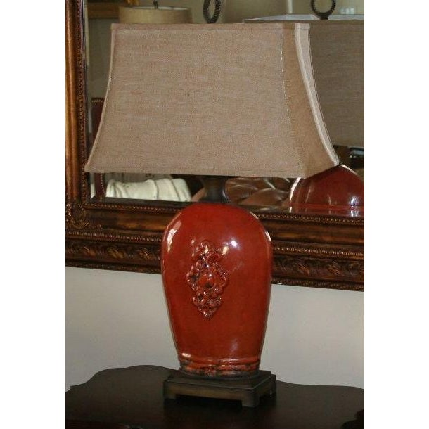 Large Tuscan Red Table Lamp - Image 2 of 10