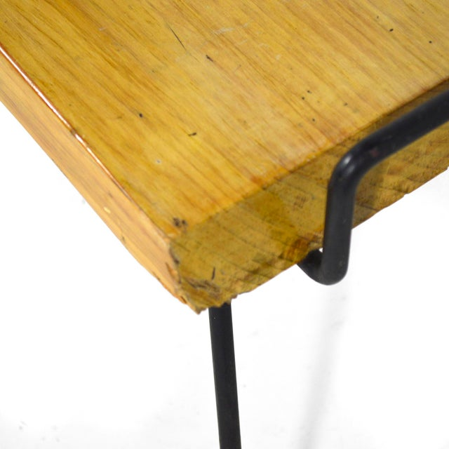 1950s Wood Bench / Table With Iron Legs For Sale - Image 5 of 11