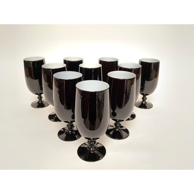 1960s Carlo Moretti Black and White Cased Glass Goblets - Set of 10 For Sale - Image 12 of 12