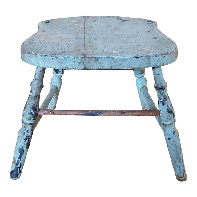 Vintage Blue Chippy Wood Stool - Image 1 of 5