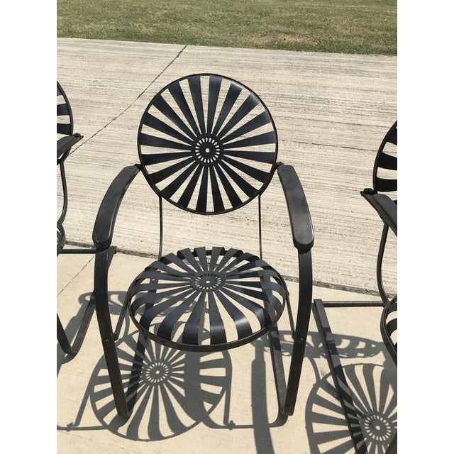 1930s Francois Carre French Sunburst Garden Chairs Circa 1930 - Set of 4 For Sale - Image 5 of 11