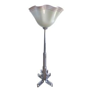 Chrome Art Deco Floor Lamp W/ Over-Scale Handkerchief Shade For Sale